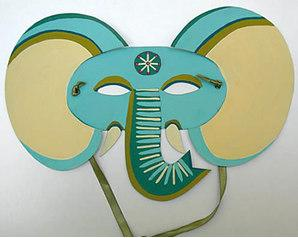 3d Green elephant mask