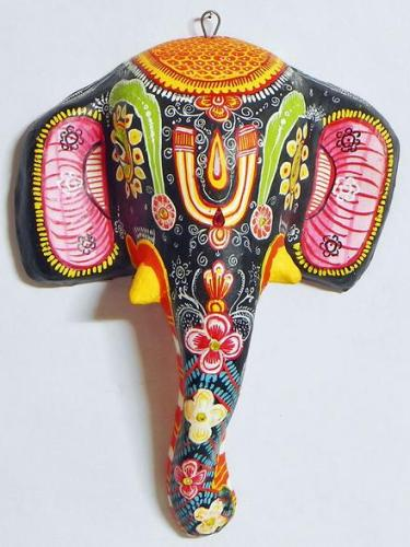 3h colourful elephant mask wall hanging