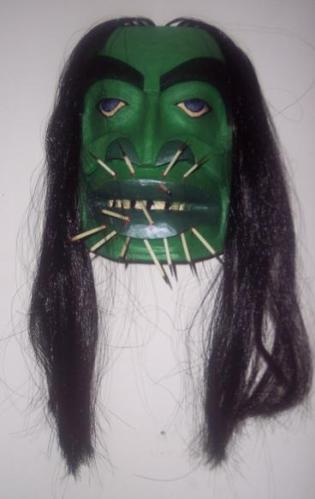 4d Green mask with long hair
