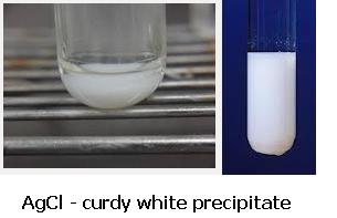 6 AgCl curdy white precipitate
