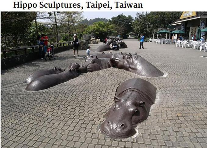 Hippo sculptures Taipei Taiwan