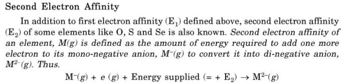 20 Second electron affinity