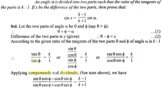 32a Componendo Dividendo Trigonometry