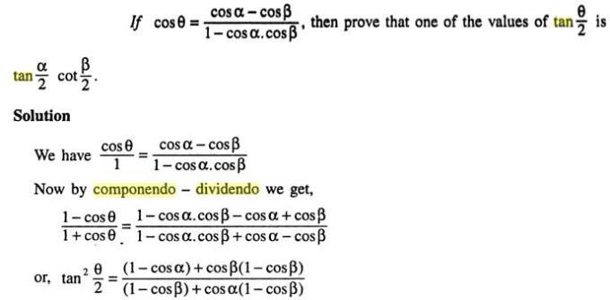 47a Componendo Dividendo Trigonometry