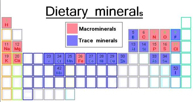 Dietary minerals periodic table