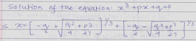 52b Remember 4 exam Cubic equation Solution