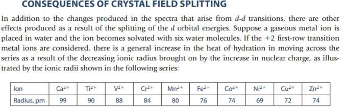 25 consequences of Crystal Field Splitting