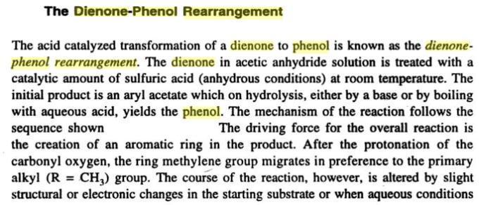 64a Dienone Phenol retropinacol rearrangement