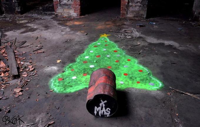 x mas tree on floor