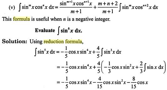 15 Integration reduction formula