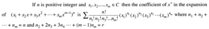 21 coefficient of x to the power r in multinomial