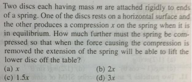1 How much a mass has to be pused so that the lower mass jumps up