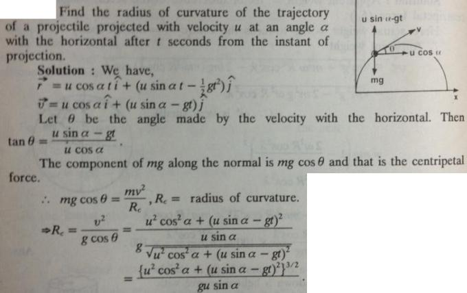 41 Projectile Find radius of curvature of the trajectory
